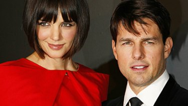 Scaling the heights of Hollywood ... Katie Holmes towers over Tom Cruise.
