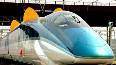 Not stopping at Woy Woy ... A newer model Shinkansen bullet train from Japan.