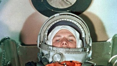 First man to orbit the Earth ... Russian Yuri Gagarin.