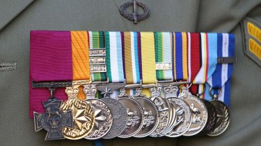 A close up of the Victoria Cross awarded to Corporal Benjamin Roberts-Smith after the battle at Shah Wali Kot in Afghanistan.