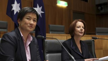 Under threat ... Penny Wong, left, is among the nine Labor senators who could lose their seat if an election was held now according to Herald-Nielson poll.