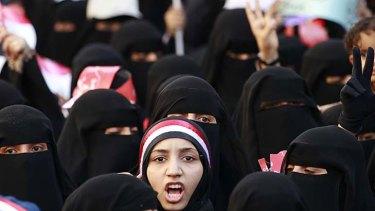 Women demonstrate against Yemen's president Ali Abdullah Saleh.