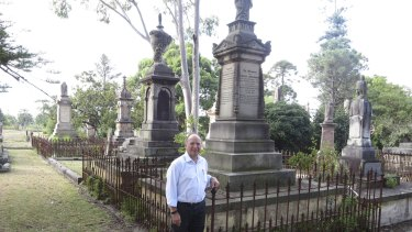 John Filocamo in a historic section of  Sydney's Rookwood Cemetery.
