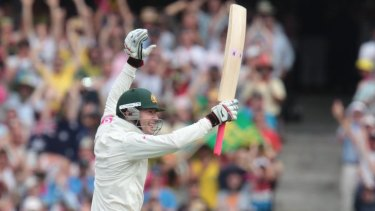 Michael Clarke celebrates as he reaches his first Test double century.