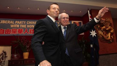 Flashback … Tony Abbott with John Howard.
