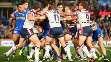 Contagious? The fight during the Roosters - Eels match game two days after State of Origin I.