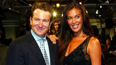 Mark McInnes with Megan Gale. <i>Picture: Peter Morris</i>
