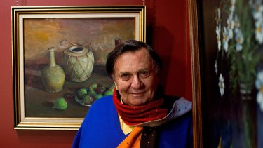 Barry Humphries with early classic works by Margaret Olley.