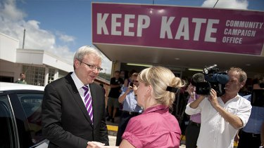 Former prime minister Kevin Rudd on the campaign trail in Ashgrove with Kate Jones.
