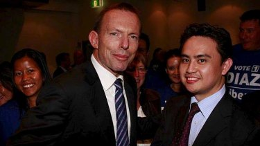 With past Greenway candidate Jayme Diaz ... Tony Abbott.