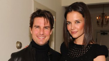 Undergoing Scientology 'auditing' ... Katie Holmes attends a Golden Globes party with husband Tom Cruise in January.