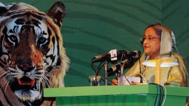 Bangladesh Prime Minister Sheikh Hasina talks during the second Stocktaking Conference under a Global Tiger Recovery Program (GTRP) in Dhaka.
