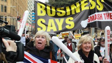 Anti Carbon Tax protest in the CBD today from Hyde Park to Central.