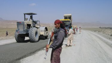 Armed patrol on the K-G Road in the Paktia Province.