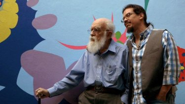 On film: US conjuror and charlaton-buster, James Randi, left, with filmmaker, Tyler Measom, who released  a documentary about Randi  in 2014 called An Honest Liar.