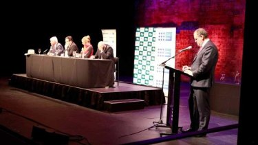 Channel Nine's Shane Doherty moderating the Balance of Power forum.
