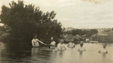 Bracing decision: Senators bathing in the Snowy River, at Dalgety, in 1902.