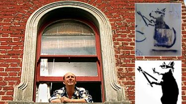 Underwear designer Mitch Dowd at his South Melbourne home and, inset, the stolen 'Banksy' (top) and another version thought to be done by the famous graffiti artist.