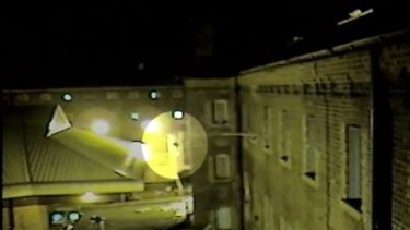 A drone flying outside Wandsworth Prison.