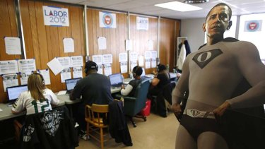 Volunteers work the phones for Barack Obama in Milwaukee, Wisconsin.