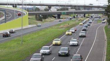 Traffic builds up on the Tullamarine Freeway.