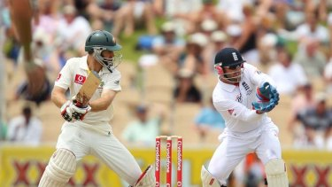 Simon Katich bats during day four of the Second Ashes Test match in Adelaide last year.