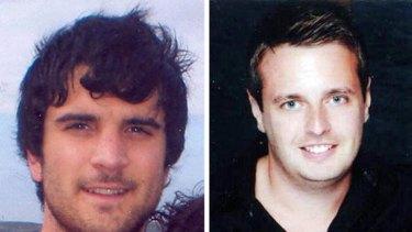 Shot dead ... James Kouzaris (left) and James Cooper.