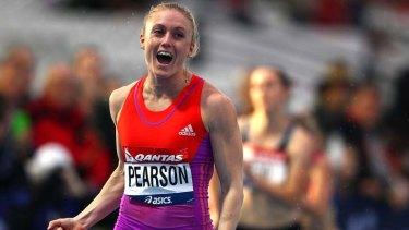 Fast-track … Sally Pearson crosses the finish line last night.
