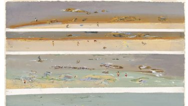 Fred Williams' Beachscape with bathers, Queenscliff IV, 1971, is part of the Infinite Horizons exhibition at NGV Australia, which is full of landscapes and portraits.