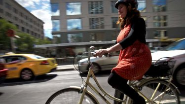 Bicycle tracks on La Trobe st are becoming very popular, especially with female cyclists.