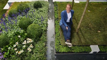 Landscape architect Nathan Burkett has won the gold medal at the Melbourne international Flower and garden show. 25th March 2015. The Age Fairfaxmedia News Picture by JOE ARMAO