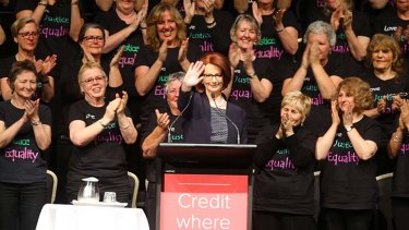 """""""In too many ways, that change has done no more than create a brittle veneer and when the veneer cracks, what lies beneath is deeply held cultural stereotyping, anger and misogyny"""": Julia Gillard."""