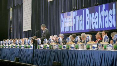Andrew Demetriou addresses the 2006 TAC Grand Final Breakfast at the Melbourne Exhibition Centre.