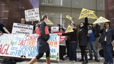 Anti-CSG protesters at AGL's Sydney headquarters.