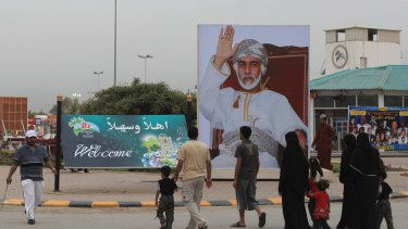 A portrait of Oman's Sultan Qaboos at the entrance to a tourism festival in the southern city of Salalah, near the border with Yemen.