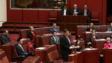 PUP Senator Glenn Lazarus delivers his first speech. Photo: Alex Ellinghausen
