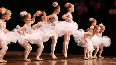 Ballerinas from Tiny Tutus during their recital at Turramurra High School hall.