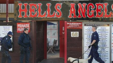 Police raid the Hells Angels headquarters in Thomastown this morning.