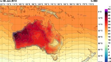 Temperatures may hit 50 degrees on Thursday in north-west WA. Source: BoM