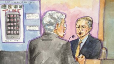 Apple marketing chief Phil Schiller takes the stand with Apple attorney Harold McElhinny (L) in this court sketch during a high profile trial between Samsung and Apple in San Jose, California, August 3, 2012.