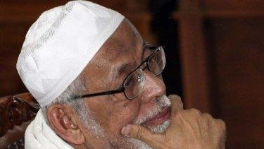 Radical cleric Abu Bakar Bashir in court in Jakarta today.
