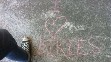 The 'I heart Bikies' graffiti at West End.