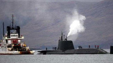 The scene near the Isle of Skye in Scotland where Britain's newest nuclear-powered submarine ran aground on Friday.