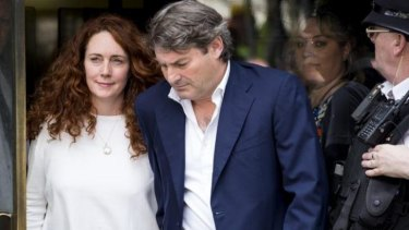 Former News Corp executive Rebekah Brooks leaving the Old Bailey with her husband Charlie after being cleared of all charges related to phone hacking.