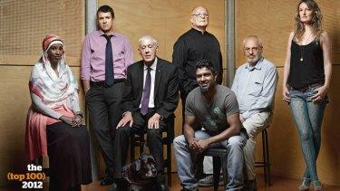 From left: Deeqo Omar, Mike Baird, Graeme Innes and dog Arrow, Tone Wheeler, Jon Owen, Alex Wodak, Avis Mulhall. Photographed at the Wayside Chapel, Potts Point.