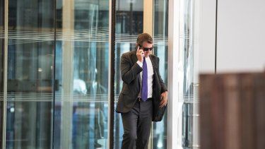 Mike Baird leaving the Deutsche Bank building in Sydney earlier this month.