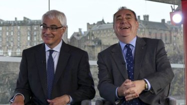 Better Together leader Alistair Darling (left) with Alex Salmond on the BBC on Sunday.