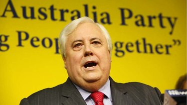 Chasing votes: Clive Palmer giving voice to the plans of the Uniting Australia Party. Photo: Glenn Hunt