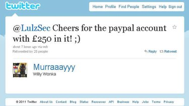 A Twitter user boasts about being able to access a PayPal account using the leaked details.
