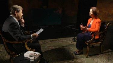 Ratings draw: Julia Gillard speaks to Ray Martin on Tuesday night.